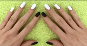 black and white painted nails