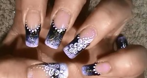 ombre nails black and white