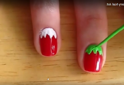 draw green leaves of strawberry - Make Strawberry Nails Art - ( 7 Easy Steps Tutorial PICTURES & VIDEO)