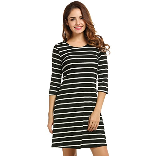008771cd54c5 #1: Kancystore Women's Spring Basic Stripes ¾ Sleeve Shift Mini T-shirt  Dress Top