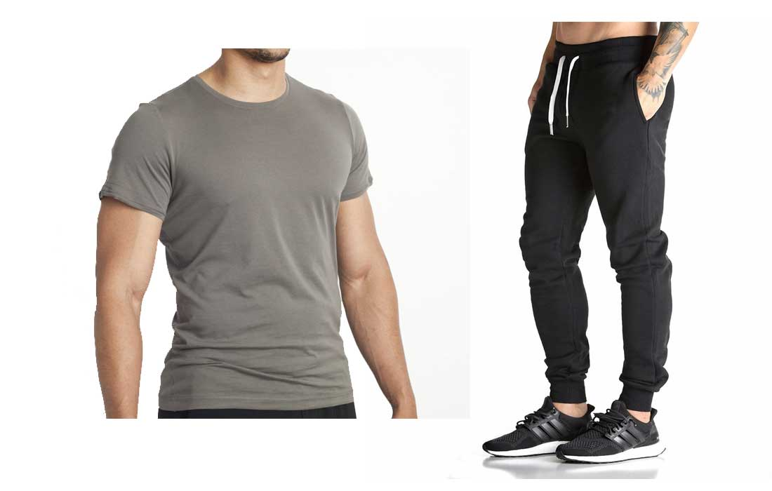 athletic harem pants and fitted t-shirt